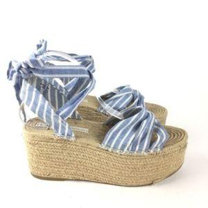 f407cf1cf5b Zara Shoes - ZARA Blue Stripe Tied Jute Platform Espadrille 9